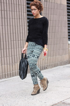 HUE leggings - Topshop boots - mohair style H&M sweater