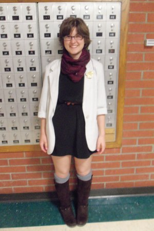 Gap boots - modcloth dress - linen thrifted blazer - scarf - Forever 21 socks -