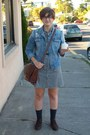 Brown-maurices-boots-black-checked-old-navy-dress-blue-denim-h-m-jacket