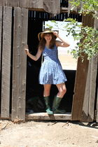 beige Walmart hat - blue Charlotte Russe dress - green Target boots