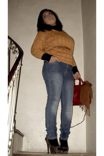 tricot amichi cardigan - denim jeans amichi jeans - rojo amichi bag