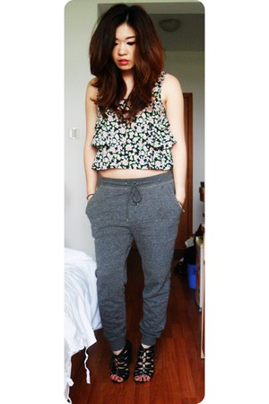 black lace up wedges - charcoal gray harem pants H&M pants