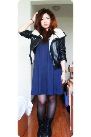 black military Primark boots - navy simple H&M dress - black aviator H&M jacket