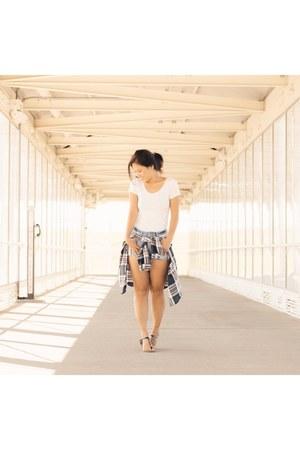 blue Zara shorts - white Uniqlo t-shirt