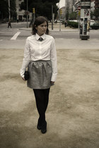 silver Primark skirt - black Bershka shoes - white Bershka shirt