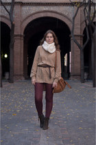 brown Stradivarius bag - dark brown Zara boots - camel Bershka shirt