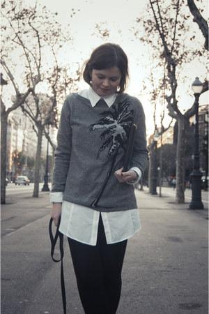 heather gray Zara sweater - white Bershka shirt - black Bershka bag