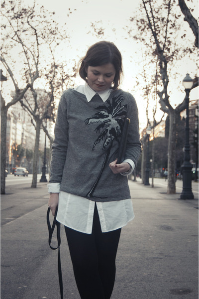 heather gray Zara sweater - white Bershka shirt - black Bershka bag