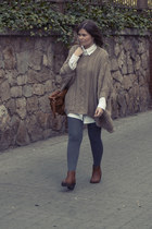 brown Marypaz boots - beige pull&bear sweater - white Bershka shirt
