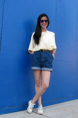 navy thrifted shorts - ivory Converse sneakers - light yellow vintage top