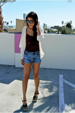 vintage top - Levis shorts - H&M blouse - Missoni wedges
