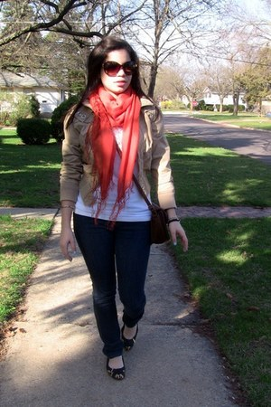 orange scarf H&M scarf - navy jeans Urban Outfitters jeans - white top Top top