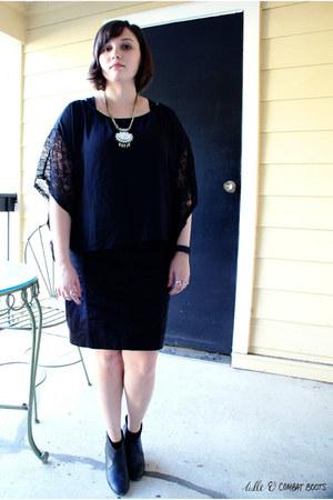 black francescas top - black DSW heels - black ann taylor skirt