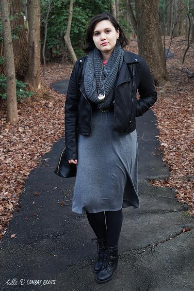 black Zigi Soho boots - gray Loft dress - black blank nyc jacket