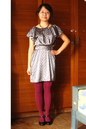heather gray flea market dress - magenta flea market tights - deep purple From I