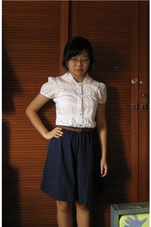 white flea market shirt - blue my mums pants - brown flea market belt