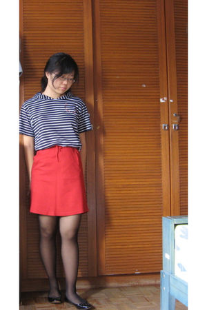 red skirt - black Charles & Keith shoes - black Primark tights