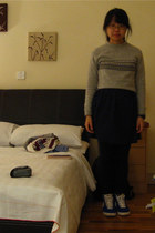 heather gray taiwan sweater - navy flea market dress - black Marks and Spencers