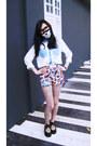 Black-no-brand-shoes-magenta-no-brand-shorts-white-chiffon-no-brand-blouse