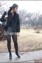 black vintage coat - black Old Navy shirt - gray UO skirt - Ebay necklace - blac