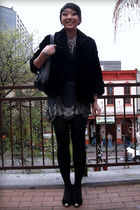 black vintage coat - gray UO skirt - black shirt - silver f21 necklace - black s
