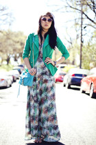 turquoise blue maxi Lulus dress - green GoJane blazer