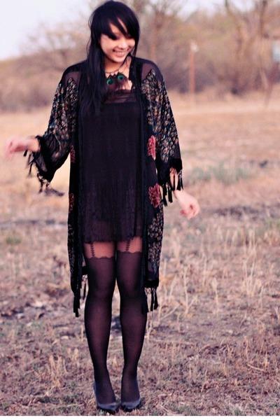 black vintage coat - black asos dress - black Forever 21 tights