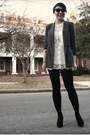 Gray-thrifted-blazer-f21-dress-ebay-necklace