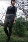 Black-vest-black-skirt-top-silver-accessories