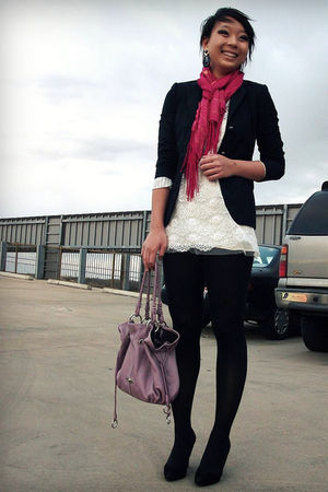 blue blazer - pink scarf - white dress - purple purse - black earrings - black t
