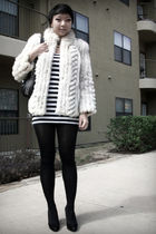 beige vintage jacket - white f21 dress