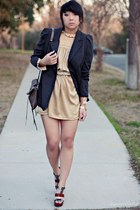 nude lace vintage dress - gray tailored Forever 21 blazer