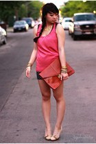 black polka dot Wetseal dress - tawny leather asos bag - hot pink silk Forever 2