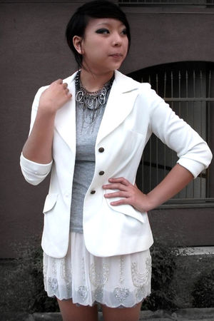 white shoes - white blazer - gray shirt - white skirt