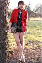 camel leopard Forever 21 bag - ruby red wool Ralph Lauren blazer
