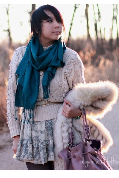 light blue floral Urban Outfitters dress - eggshell fur thrifted vintage coat -