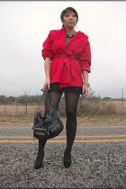 red vintage coat - black f21 skirt - black UO tights - leonello borghi purse - A