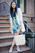 ivory lace bag - blue floral dress - cream crochet Zara jacket