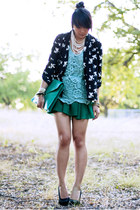 white sparrow Forever 21 blazer - turquoise blue envelope asos bag