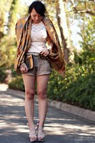 gold brocade Street Vendor scarf - bronze sequin asos bag - tan cargo Lulus shor