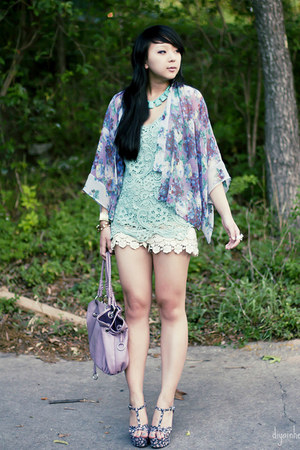 amethyst florals Topshop blouse - aquamarine crochet Forever 21 top