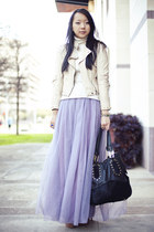 light purple tulle DIY skirt - cream spiked dog and pony jacket