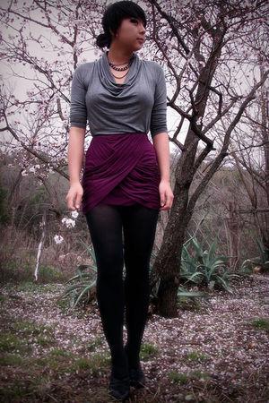 purple skirt - gray top - black shoes
