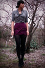Purple-skirt-gray-top-black-shoes