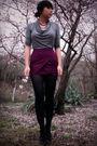 Purple-skirt-gray-top-black-shoes