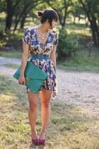 amethyst floral asos dress - turquoise blue teal asos bag - magenta platform Bak