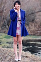 periwinkle floral lulus dress - blue wool laundry coat