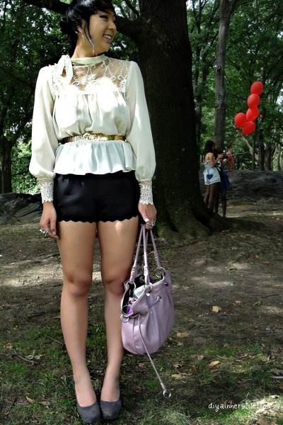 white vintage blouse - black UO shorts