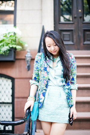 blue floral Zara blazer - green button down Lands End blouse