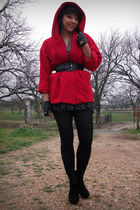red vintage coat - black Bakers boots - f21 shirt - black f21 skirt - f21 belt